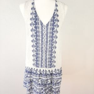 H&M Blue White Border Print Sleeveless Dress 6